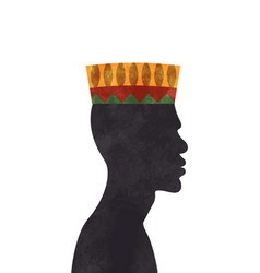 Black african culture man face profile isolated vector