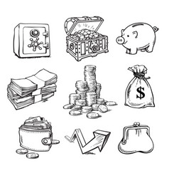 Black and white business money set vector