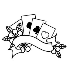 Black line tattoo cards and banner vector