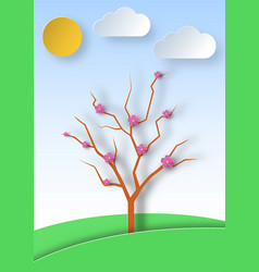 Blooming tree on a landscape and meadow vector