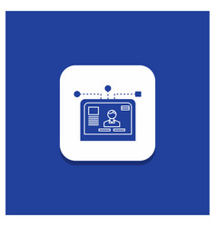 blue round button for interface website user vector image