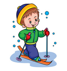 boy in winter skiing weekend isolated object on vector image