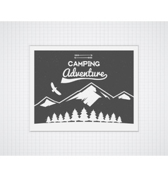 Camping frame template with travel poster vector