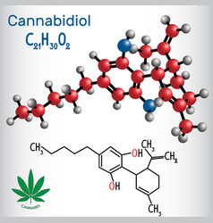 cannabidiol cbd - structural chemical formula and vector image