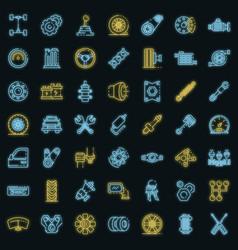 Car parts icons set neon vector