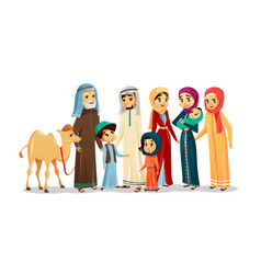 Cartoon arab family characters camel set vector