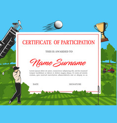 certificate participation in golf tournament vector image