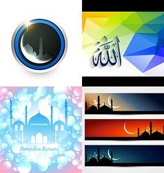 creative set of ramadan festival background vector image