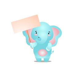 Cute blue elephant take a blank white banner vector
