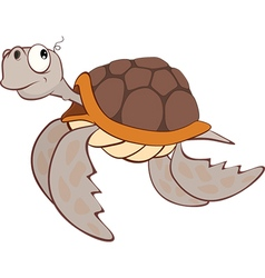Cute sea turtle cartoon character vector