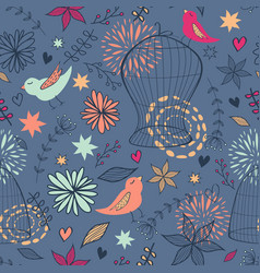 Cute seamless floral pattern with birds cages vector