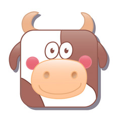 cute square cow or bull isolated on vector image
