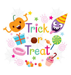 decoration of trick or treat texts with pumpkin vector image