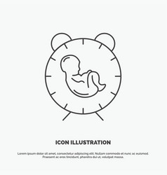 Delivery time baby birth child icon line gray vector