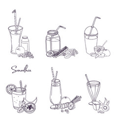 different smoothie set collection of various vector image