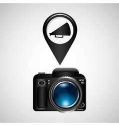 Digital photo camera megaphone vector