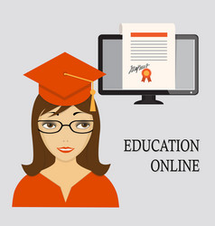 education online with girl in red and diploma vector image