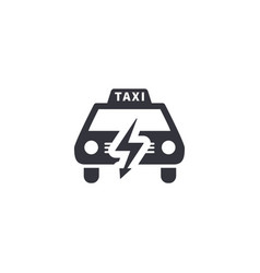 electric taxi front view silhouette simple black vector image