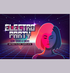Electro party music poster template violet neon vector