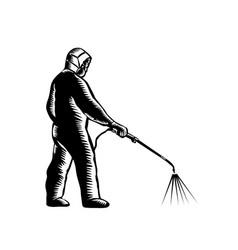 Essential worker wearing ppe spraying vector