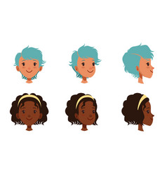female heads set frontal profile cheerful vector image