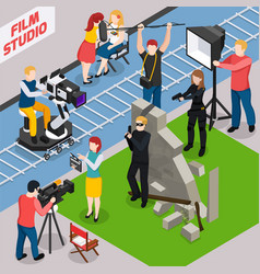 film studio isometric composition vector image
