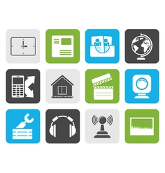 Flat Mobile phone and computer icons vector