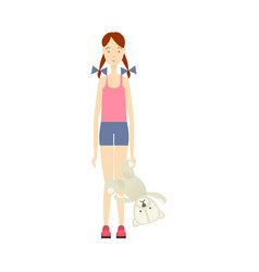Flat young girl holding bear toy vector