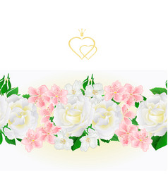 floral border seamless background white roses vector image