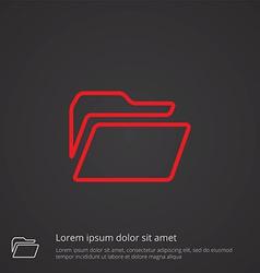 folder outline symbol red on dark background logo vector image vector image