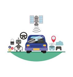 futuristic technology set icons vector image
