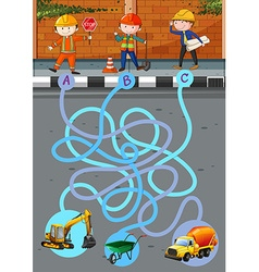 Game template with construction workers and tools vector