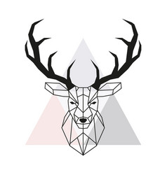 Geometric deer head stag head and antlers vector