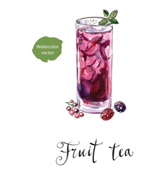 glass of fruit tea with mint vector image