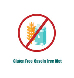 gluten and casein free icon crosed sign with pack vector image