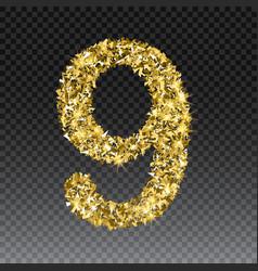 Gold glittering number nine shining golden vector