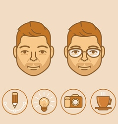 graphic designer portrait and avatar in trendy vector image