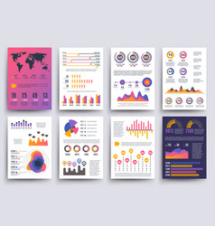 Graphical business report template with vector