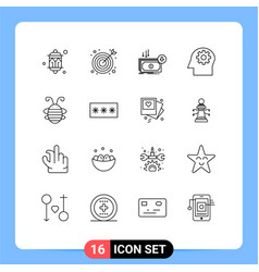 Group 16 modern outlines set for bee insect vector