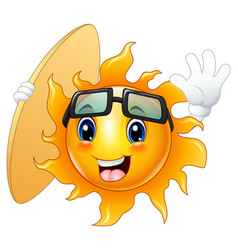 happy cartoon sun character with surfboard vector image