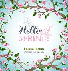 Hello spring template vector image