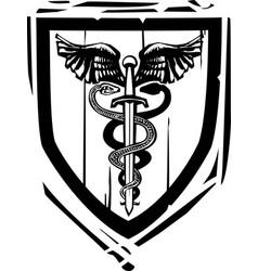 Heraldic shield sword caduceus vector