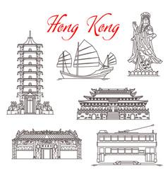 Hong kong architecture landmarks famous symbols vector