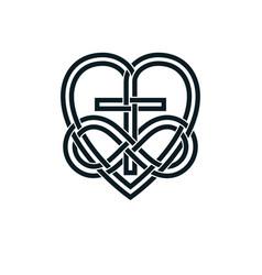 Immortal god christian love conceptual logo vector