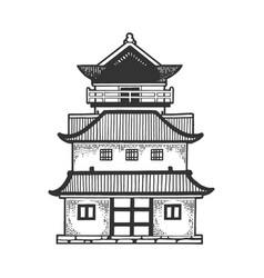 Japanese temple pagoda house sketch engraving vector