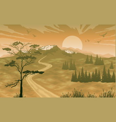 landscape with mountains and sunrise sky vector image