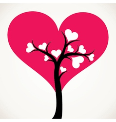 lover tree with pink heart shape leaf vector image