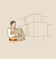 man employee with package work on warehouse vector image
