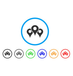 Map locations rounded icon vector