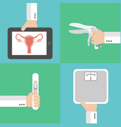 Medical gynecology and pregnancy flat design set vector